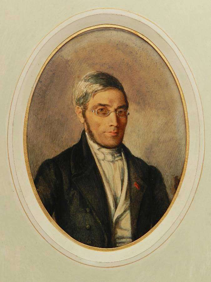 Portrait of a French Gentleman 19th Century Watercolor Original Painting