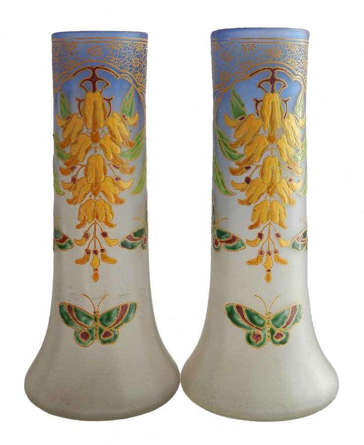 Pair of Art Nouveau Legras Vases Enameled Glass c1900