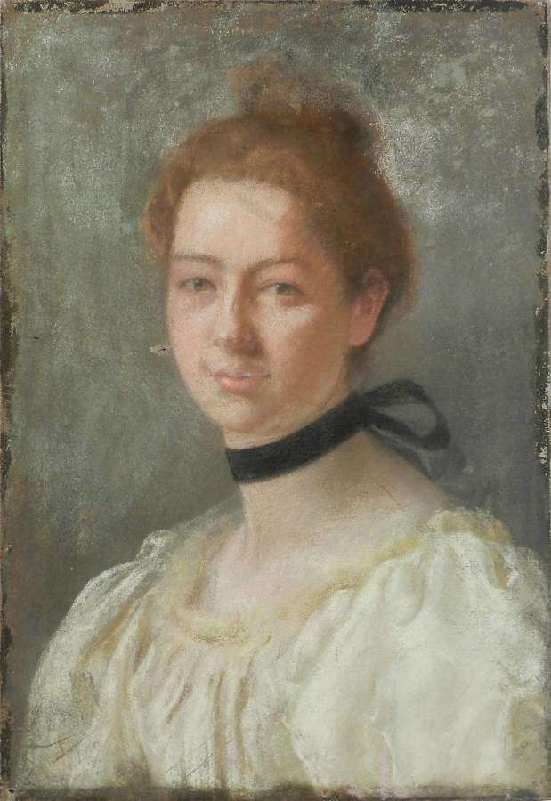 Portrait of a Lady 19th Century Painting French Pastel on Canvas