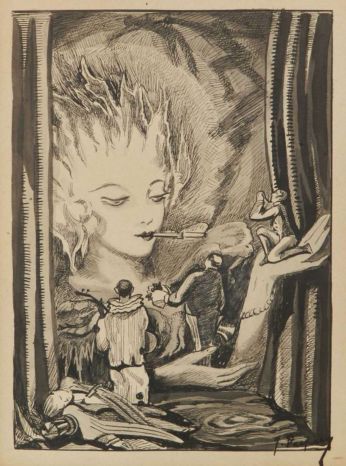 Pen and Ink Fantasy Theater Design early signed work Jean Dupuy