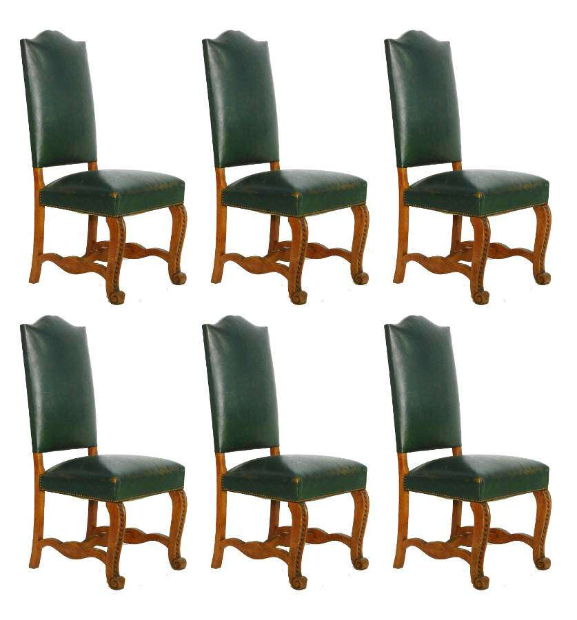 Six Dining Chairs Spanish Green Leather Upholstered, circa 1920