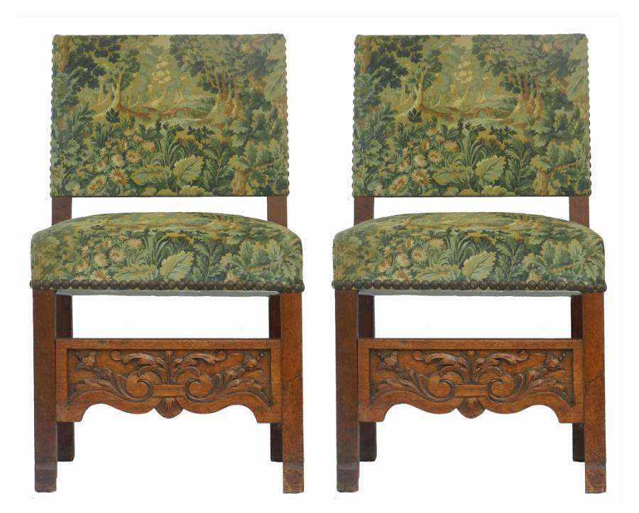 Pair Side Chairs Country House Upholstered French Oak 19th century