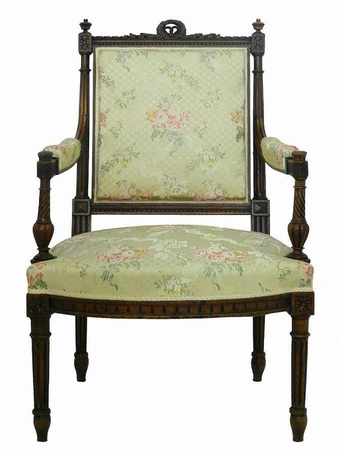 19th Century Louis XVI Armchair French Provincial Carved Walnut Open Chair