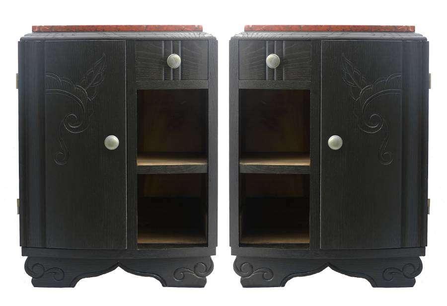 Pair Art Deco Side Cabinets Ebonised Oak French c1930