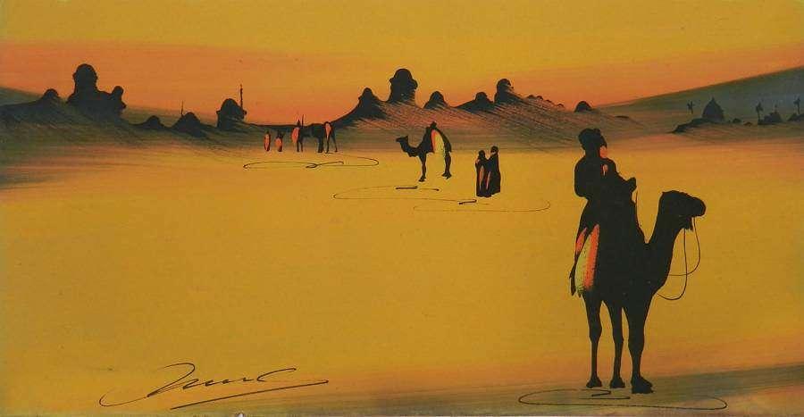 Desert Painting Tuaregs on Camels original signed c1920