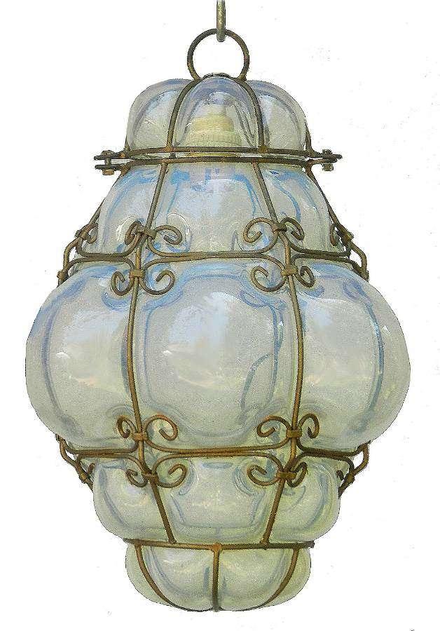 Seguso Murano Pendant Light Italian Vintage Handblown Opalescent Bubble Glass
