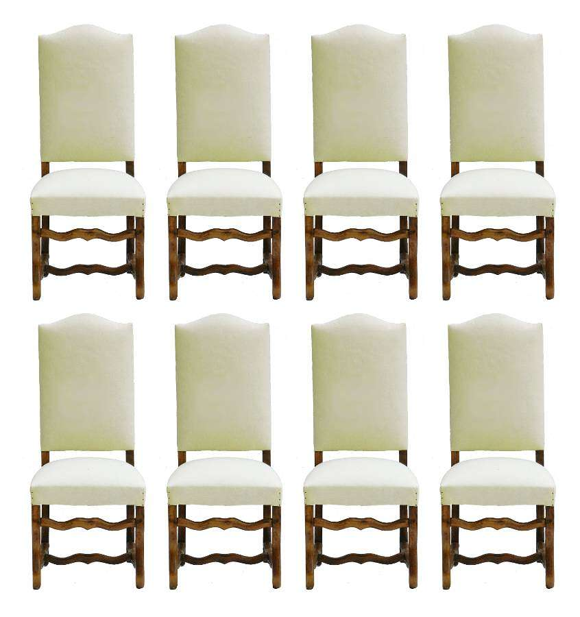 Eight Dining Chairs Os de Mouton Upholstered Ready for Top Covers Walnut