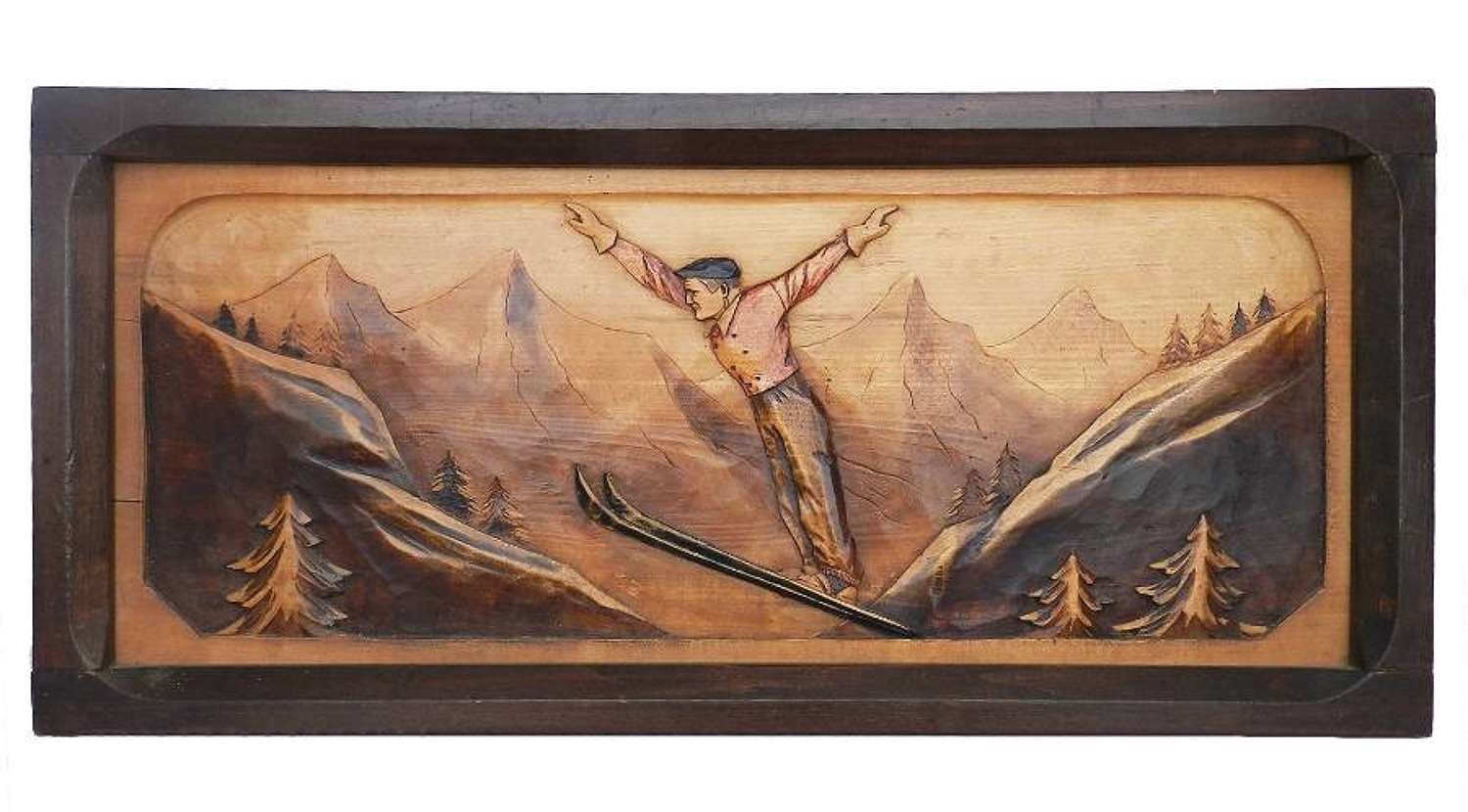 Art Deco Wall Plaque Skier carved wood Basque