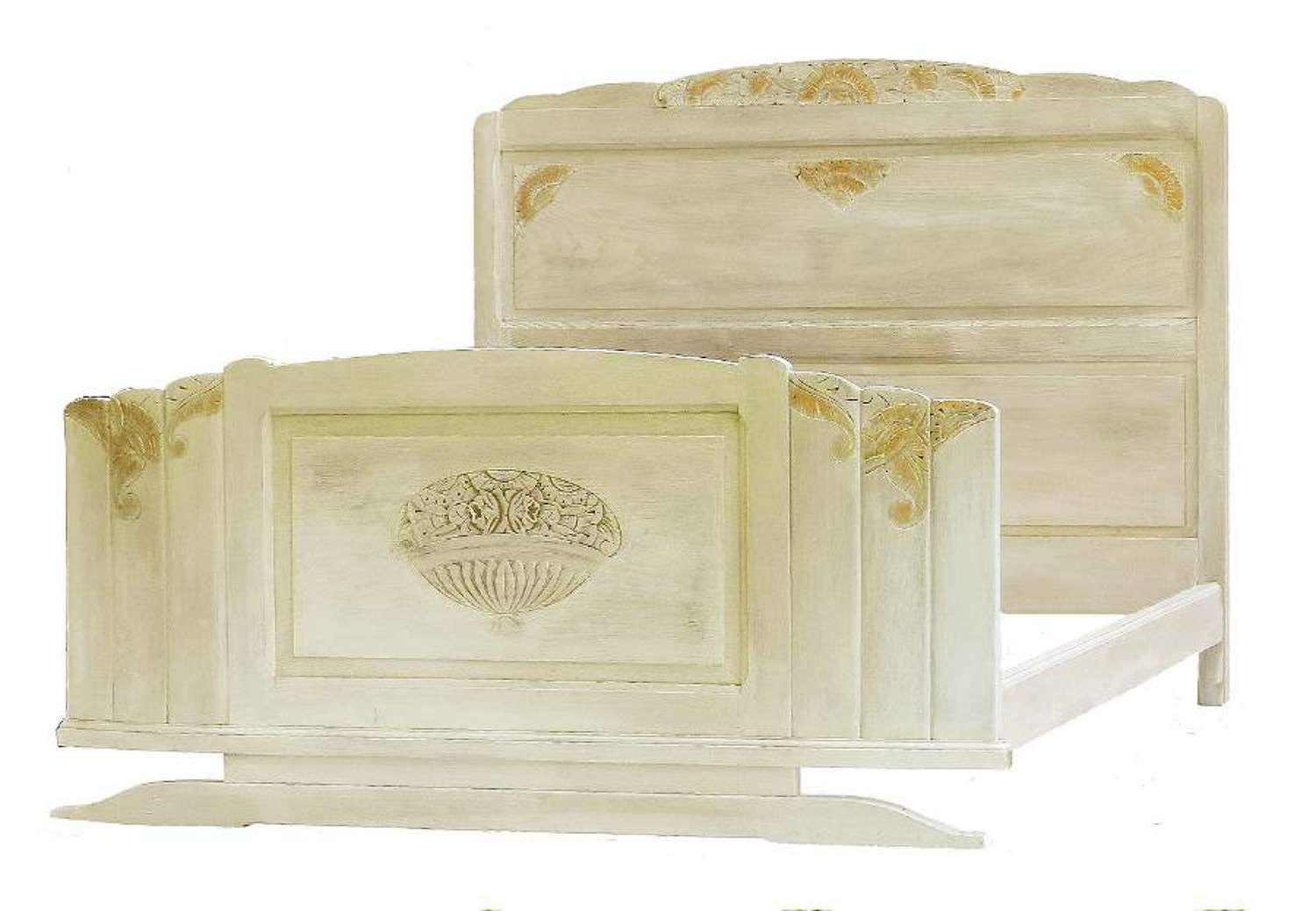 Art Deco Bed French US Queen or UK King size Chalk Lime Oak