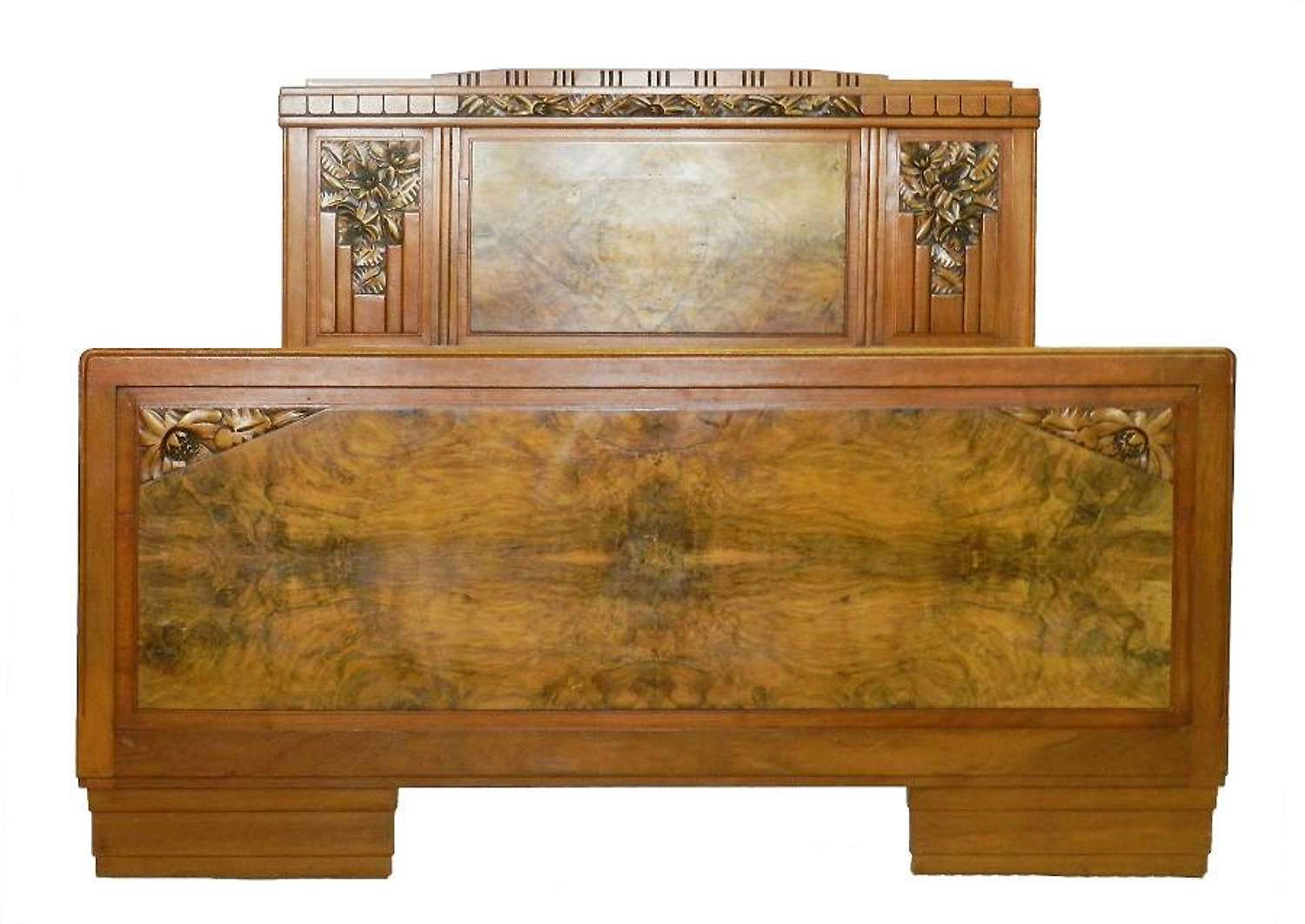 Art Deco Bed Antique French bed Carved Walnut manner of Sue et Mare