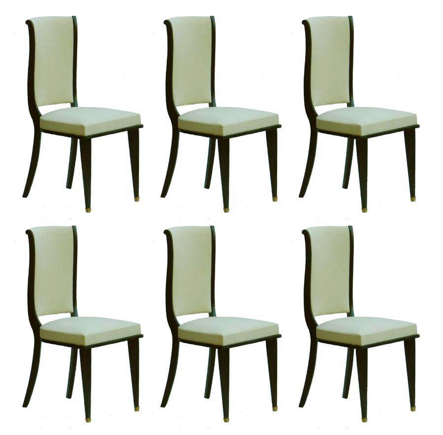 Six Dining Chairs Mid Century Empire revival French Upholstered Ebonized