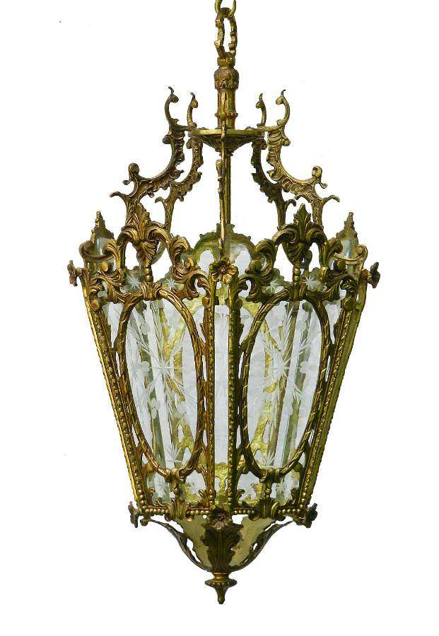 French Brass and Etched Glass Lantern