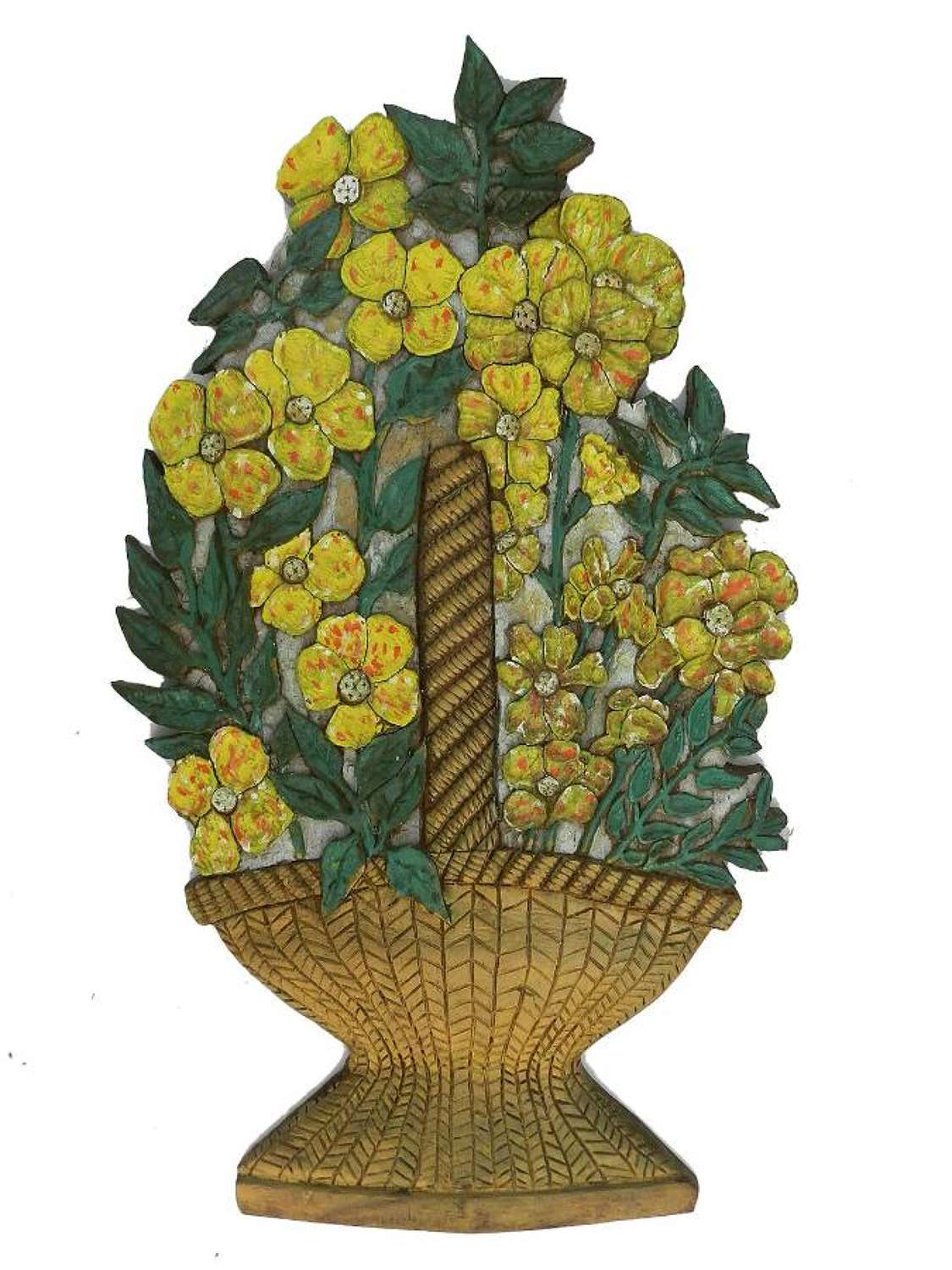 Art Deco Carved Wood Wall Plaque Flowers Signed Relief Painted Floral Basket Unique
