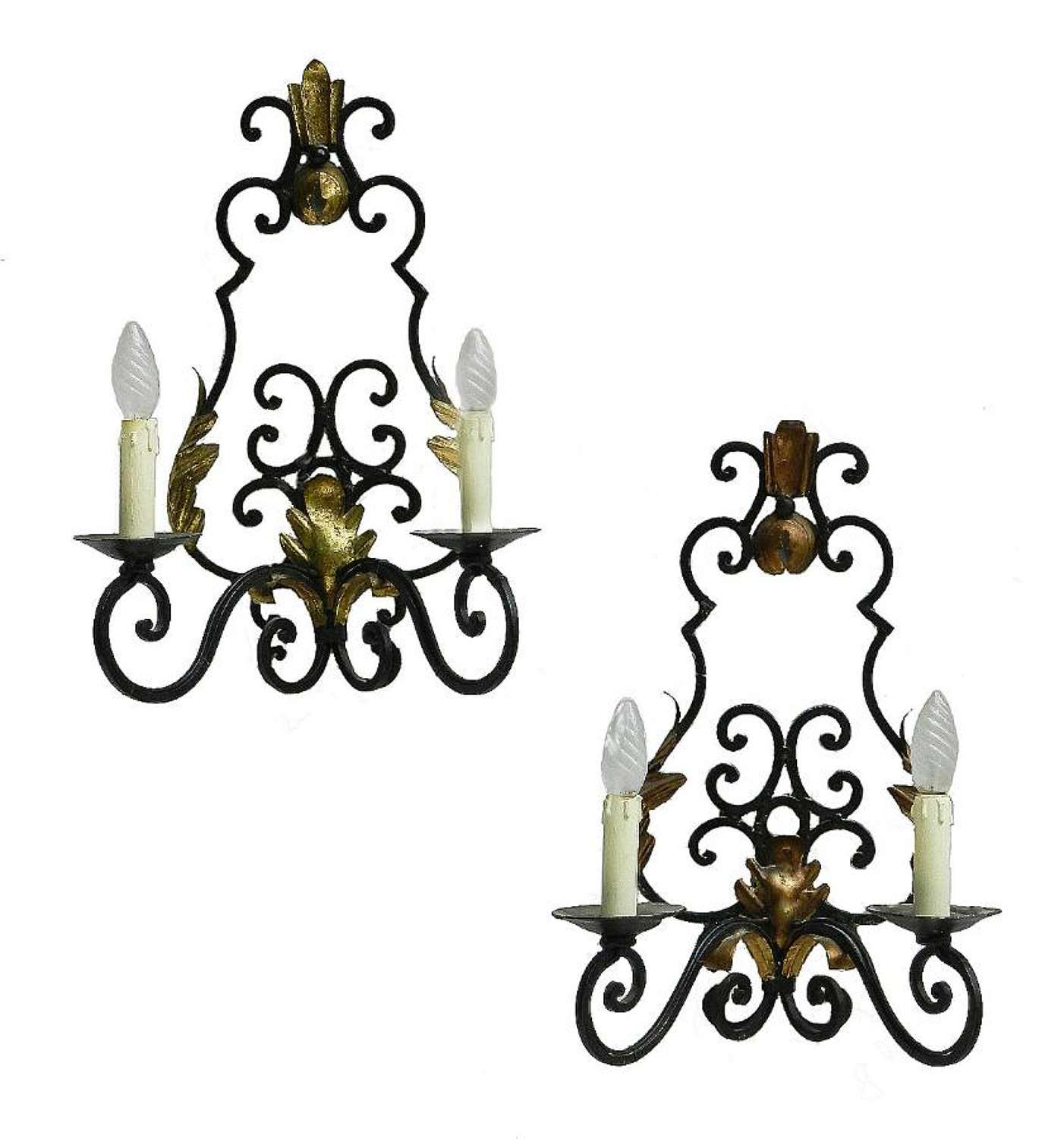 Pair Art Deco Sconces French Wall Lights Wrought Iron Appliques c1930
