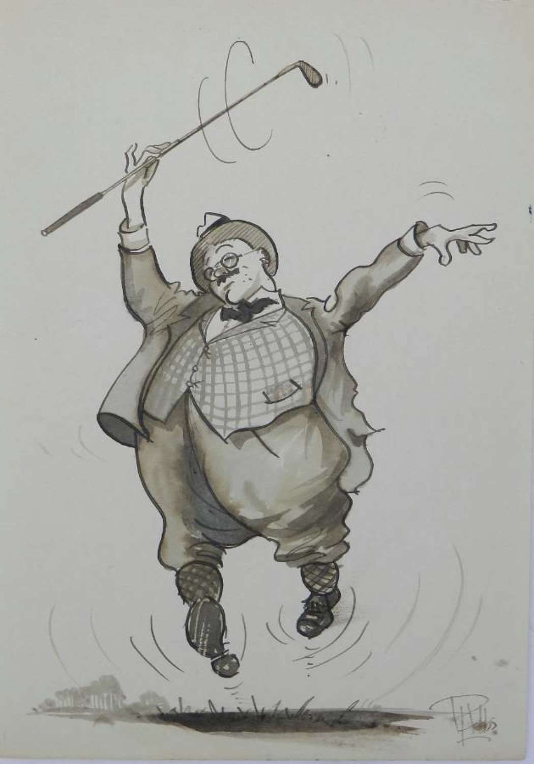 Caricature of a Happy Golfer by Peter Hobbs Golf Original Painting c1950