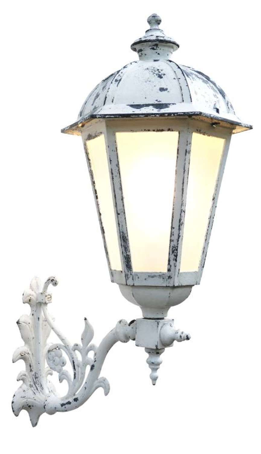 Outdoor Lantern Wall Light French Metal Glass Sconce Exterior Porch 20th century