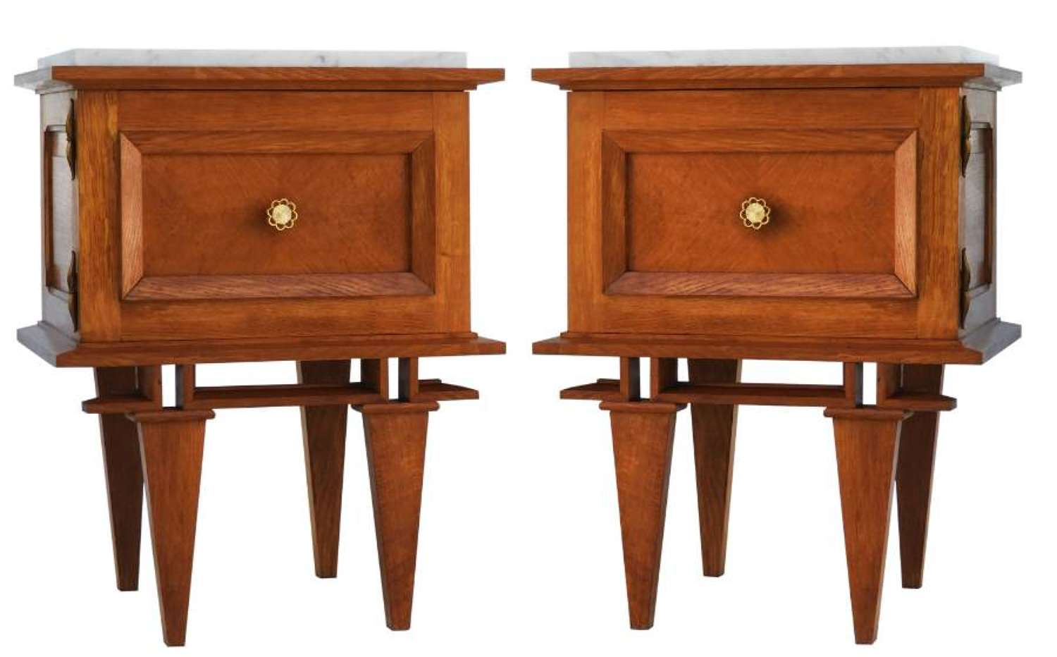 Pair Side Cabinets Mid Century Nightstands Bedside Tables French c1950