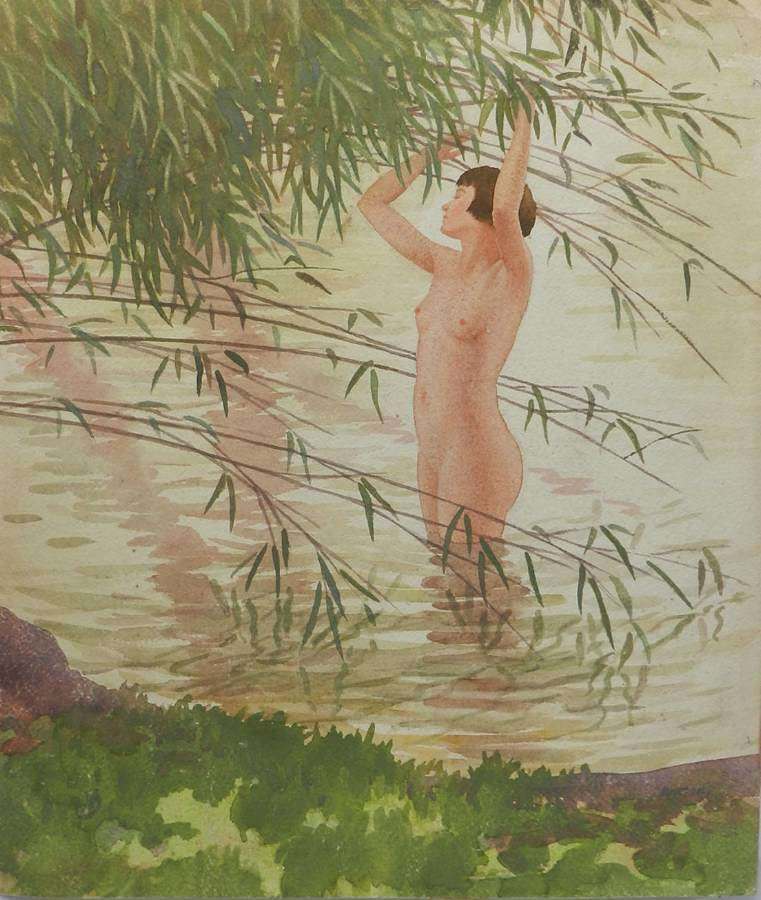 Watercolour by Frank Jameson Art Deco Nude St Ives School Cornwall