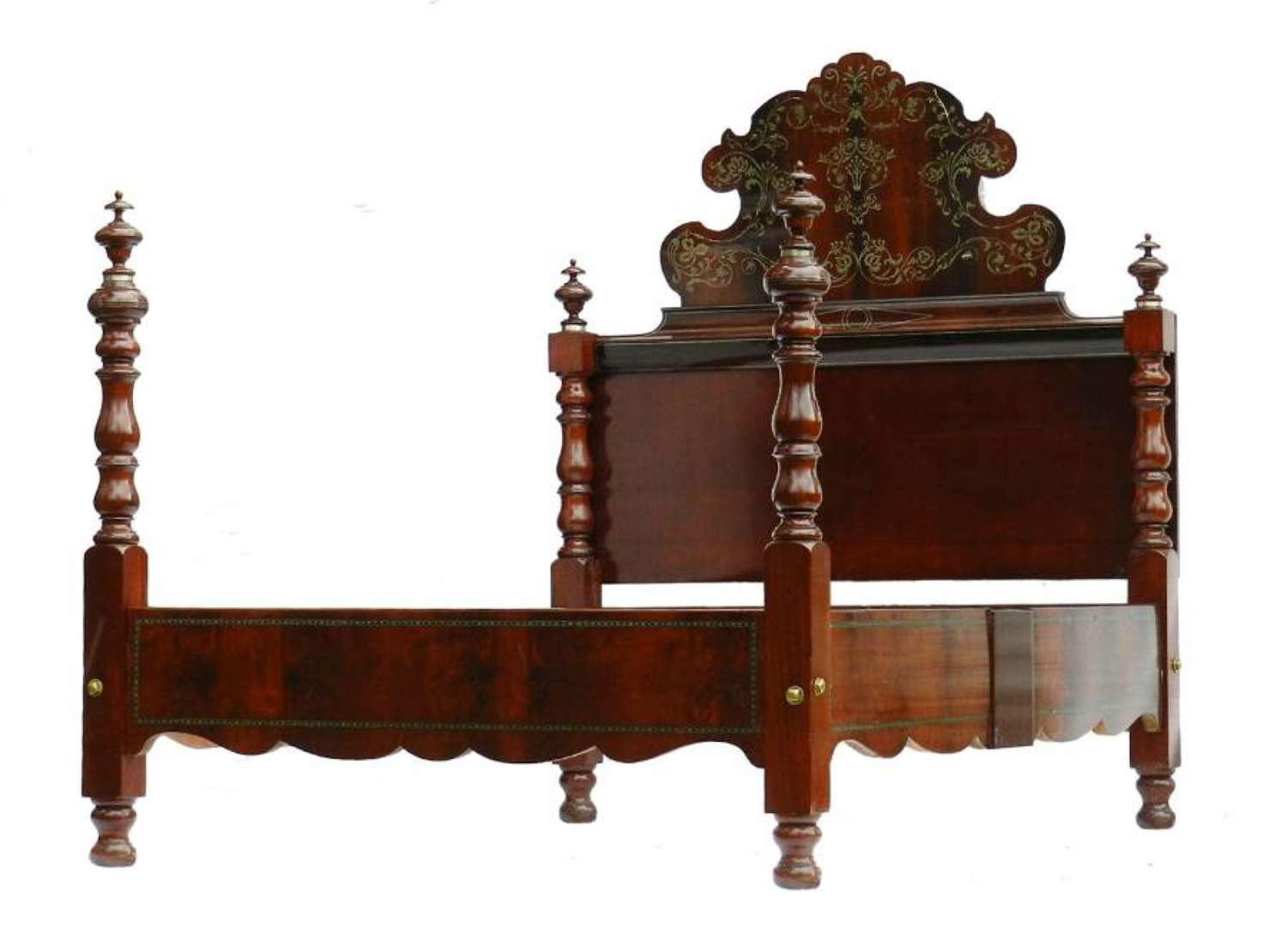 Antique Bed UK King or US Queen Size Spanish Inlaid Four Post Brass Mahogany