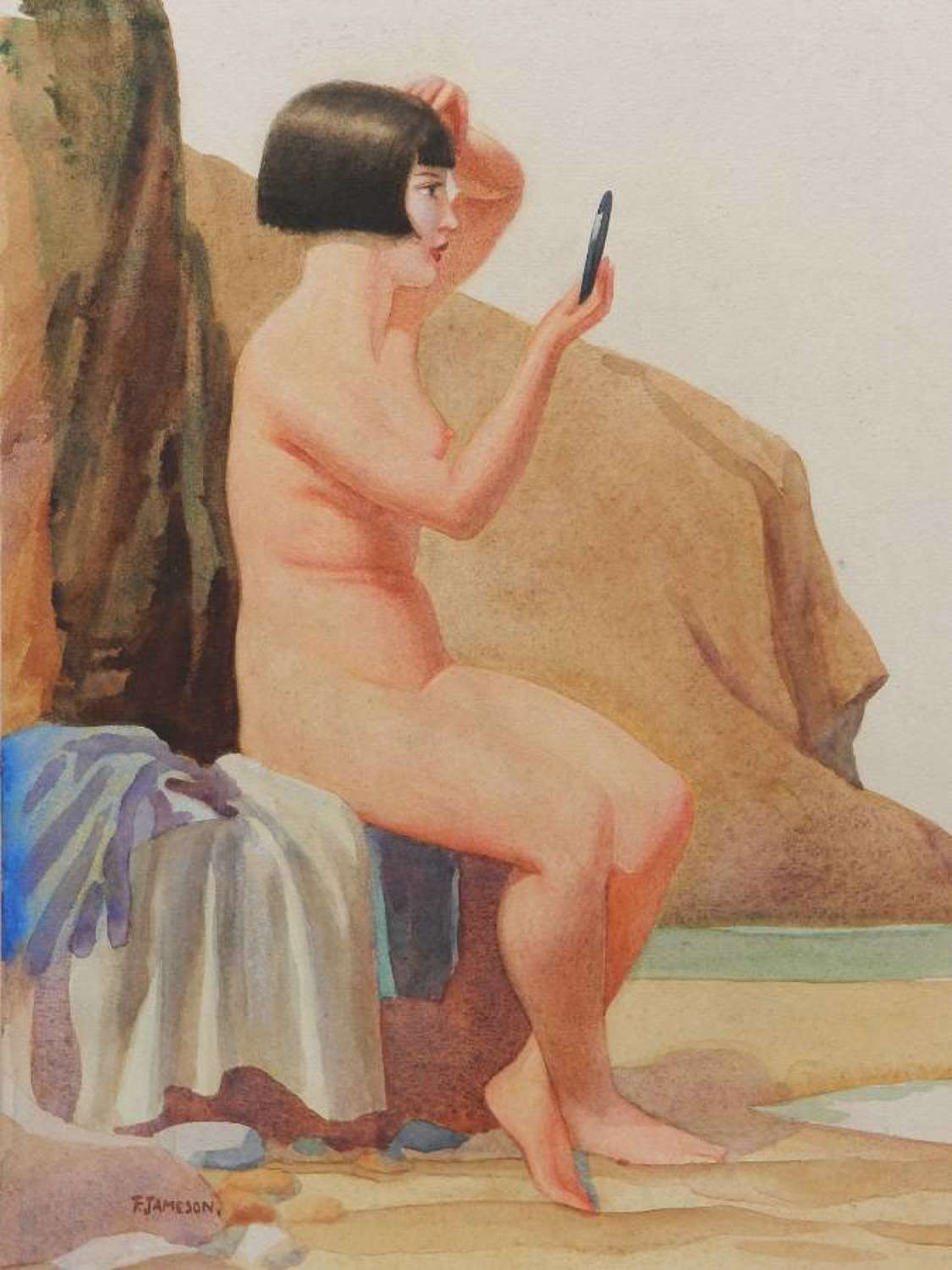 Watercolour painting by Frank Jameson Art Deco Nude St Ives School Cor