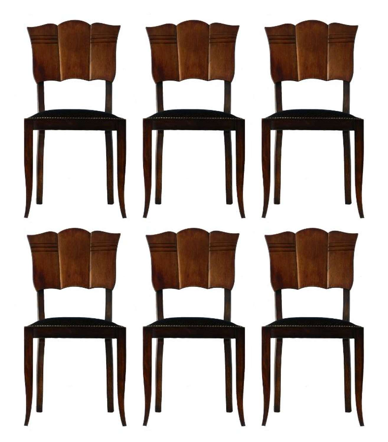 Six Art Deco Dining Chairs French Upholstered Walnut