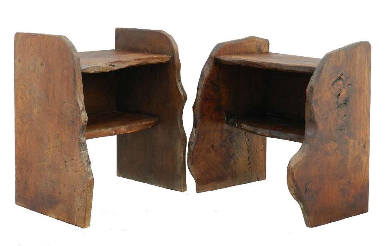 Pair of Side Tables Nightstands Bedside Cabinets Primitive Brutalist French 1920