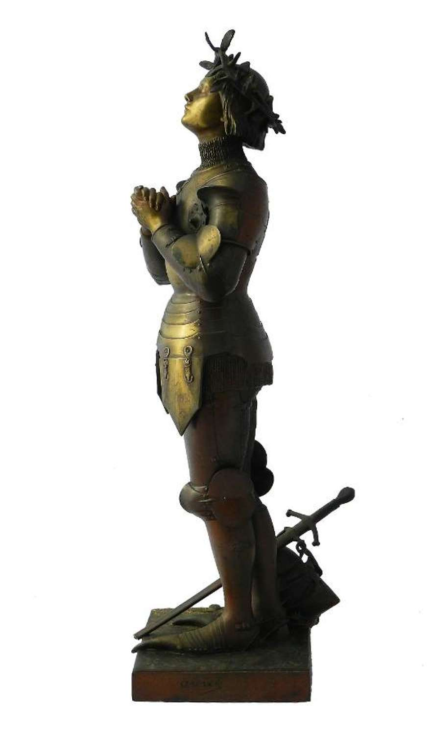 French Bronze Statue Joan of Arc by Antonin Marcie 19th century