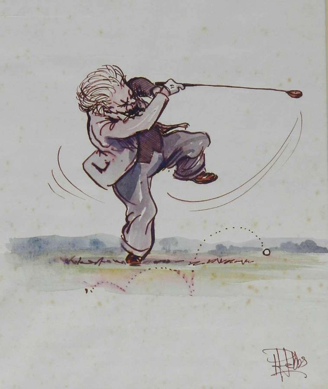 Original Painting Caricature of a Golfer by Peter Hobbs Golf Elderly Gentleman