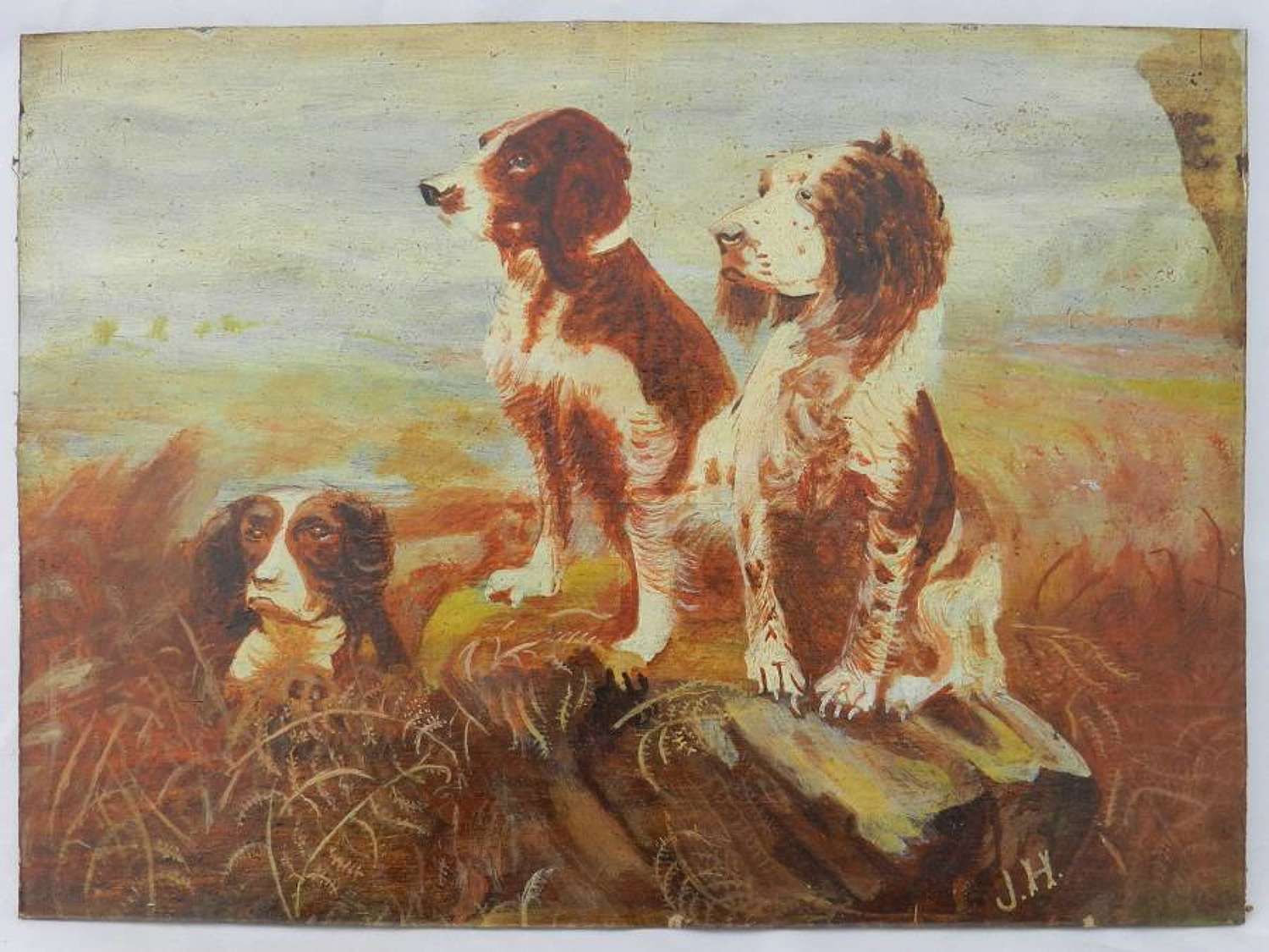 Naive Painting of Dogs c1910