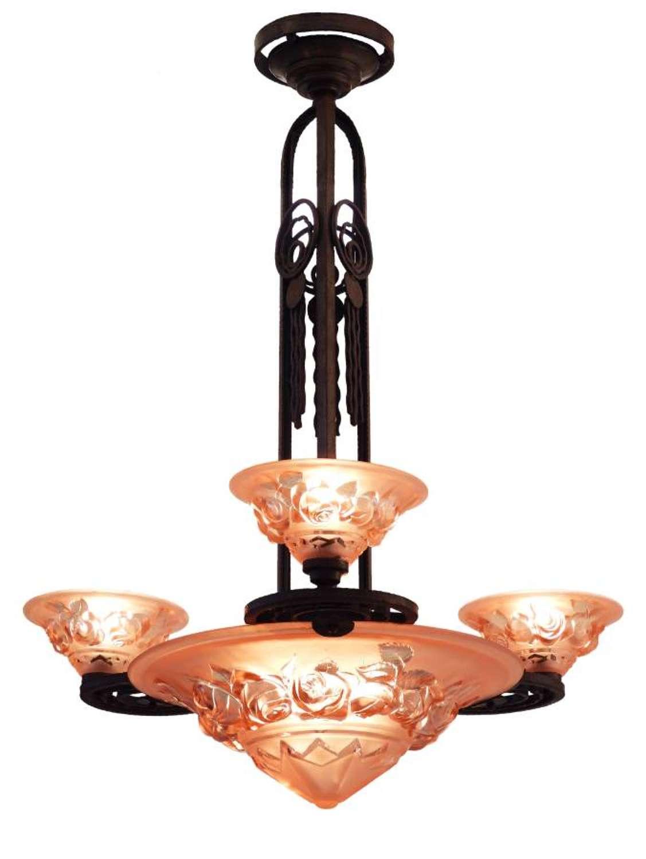 Art Deco Chandelier Edgar Brandt inspired Wrought Iron c1930 French Rose Glass