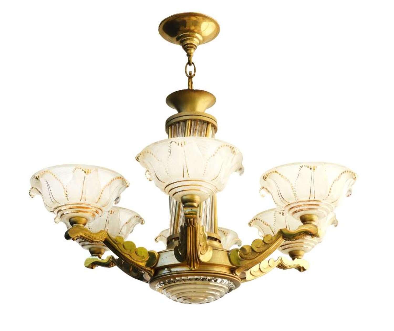 Art Deco Chandelier Glass and Brass c1930 Stunning