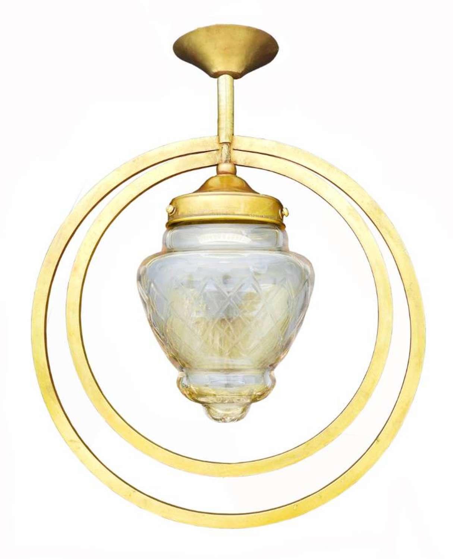 Art Deco Pendant Light Etched Glass Double Hoop, circa 1930