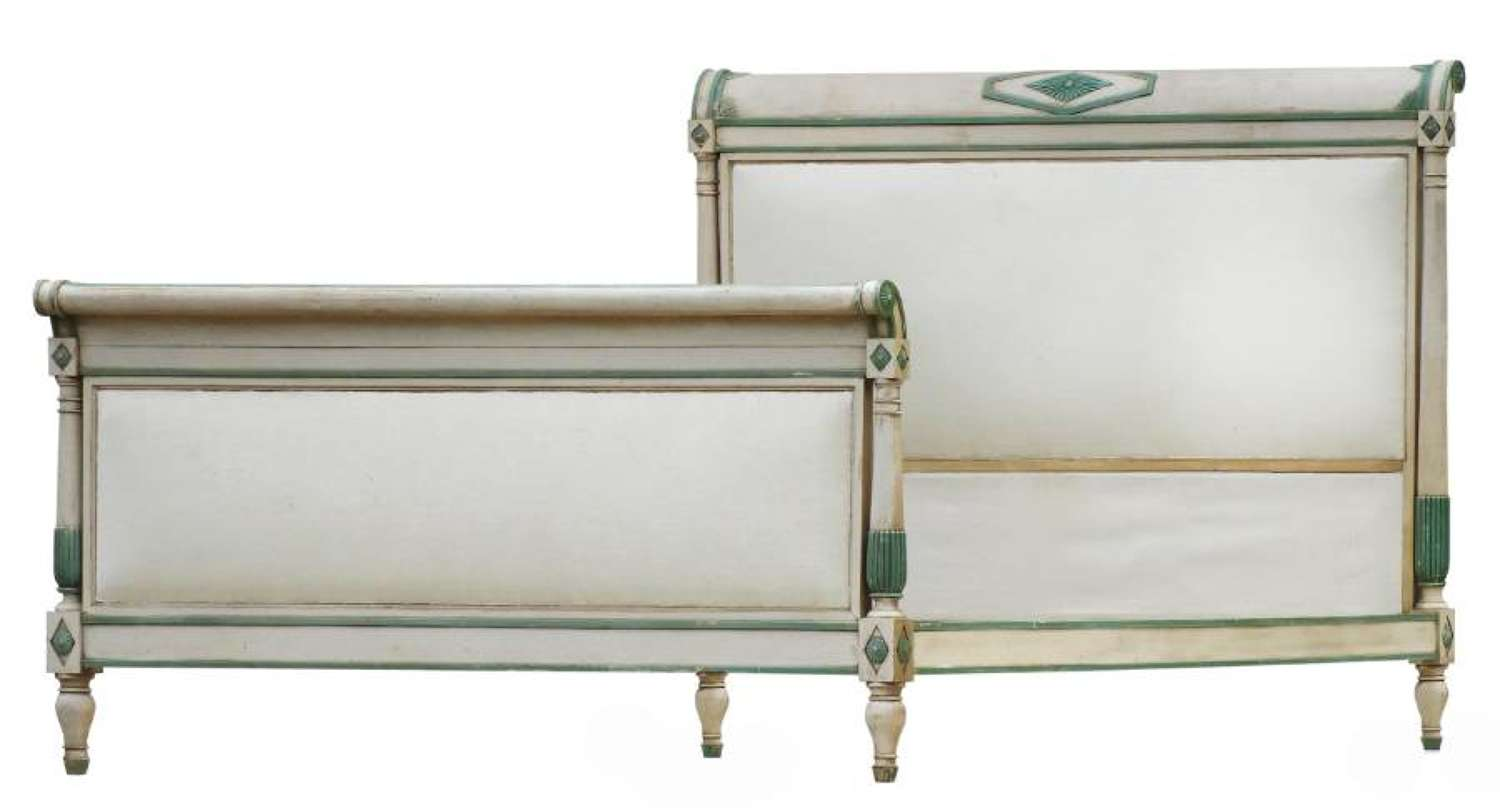 French Second Empire Bed US Queen UK King size Original Paint Upholstered c1890