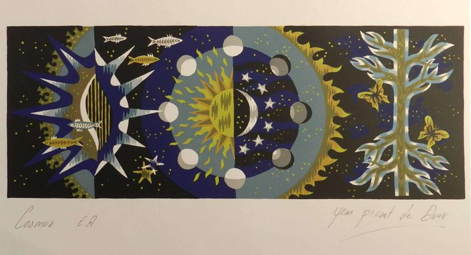 Jean Picart Le Doux Lithograph Hand Signed Cosmos c1950-1960 unframed