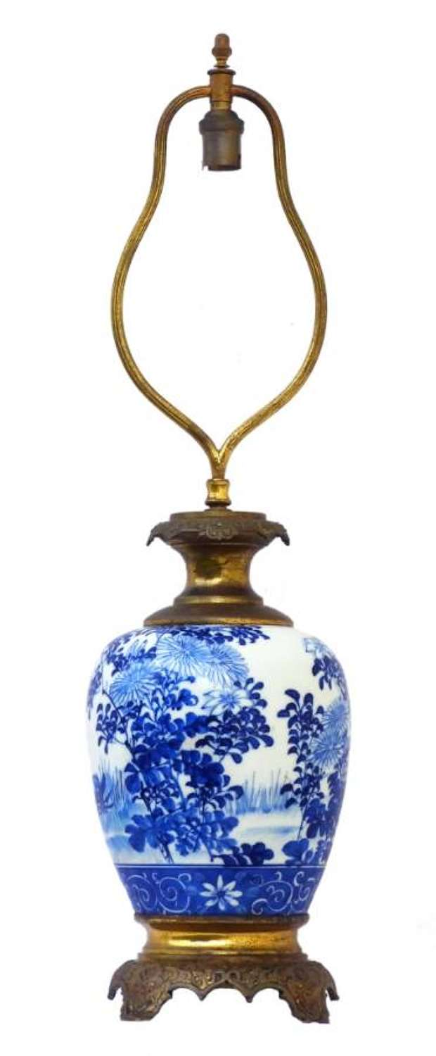 French Table Lamp Blue and White Chinoiserie Porcelain French c1920