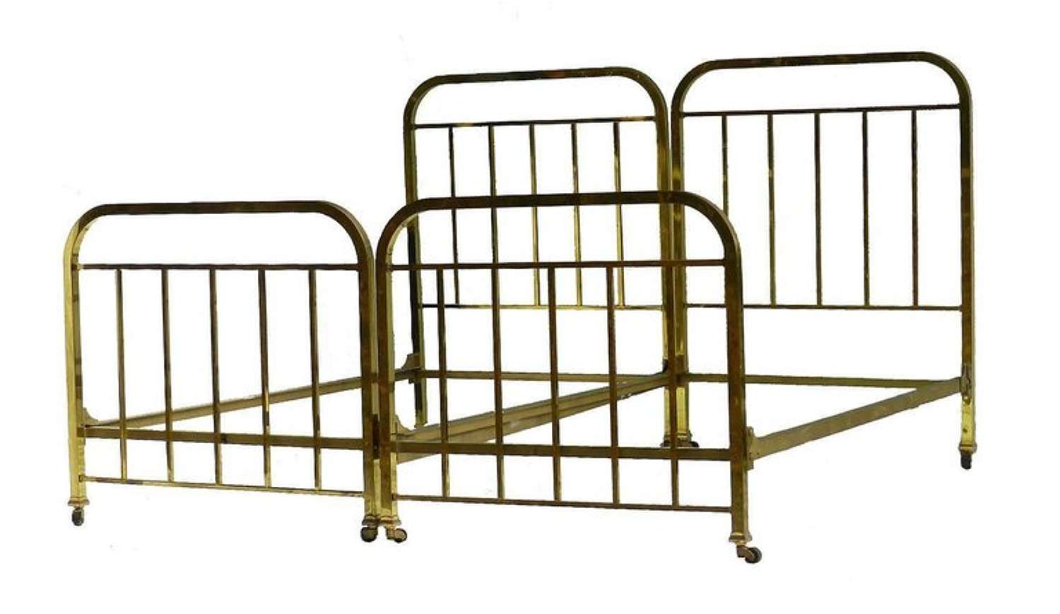 Pair of Art Deco Brass Beds French Single Twin c1930 with makers label