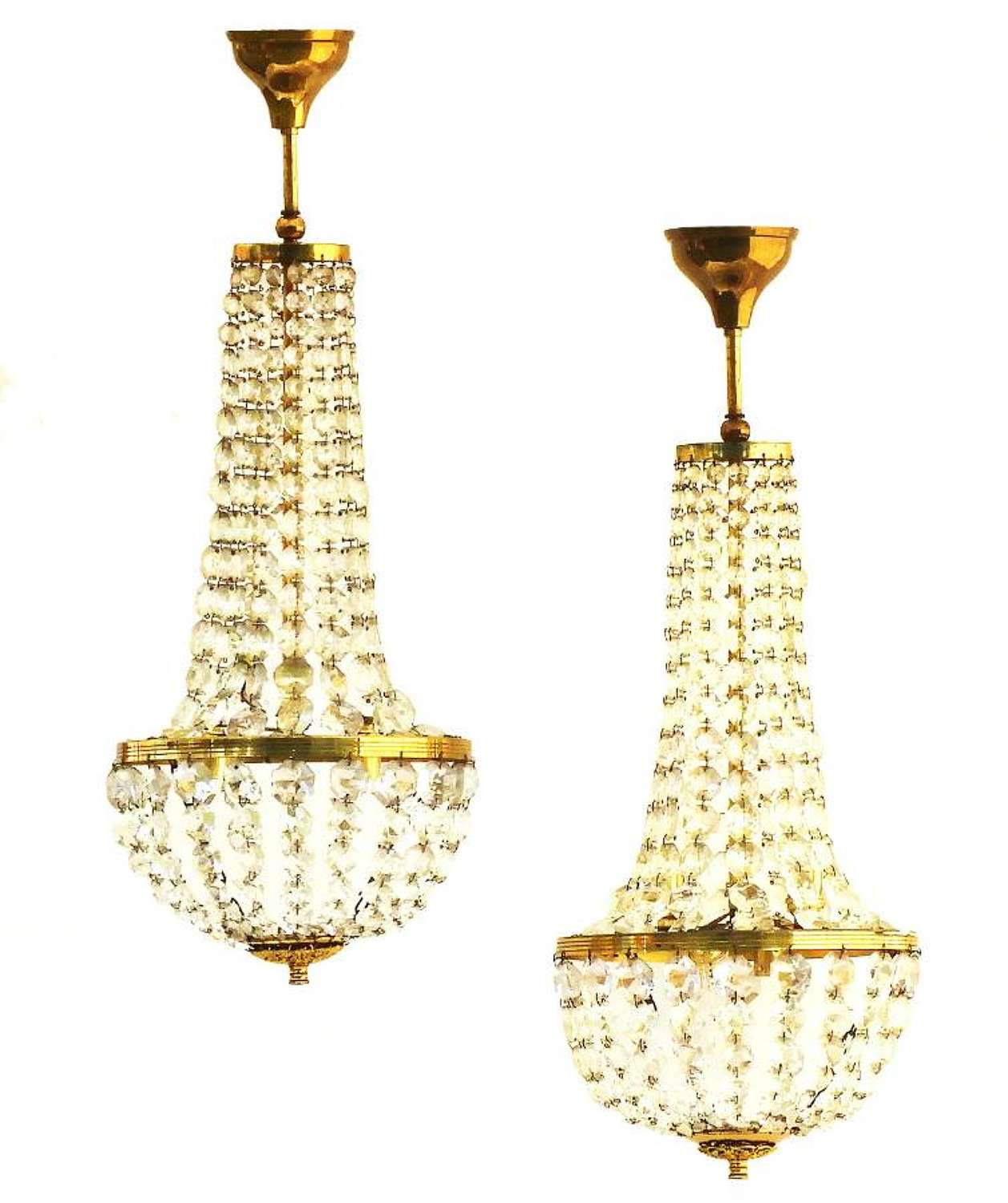 Pair of Belle Epoque Chandeliers French Mongolfiers Balloon Crystal, circa 1900