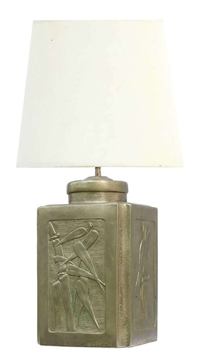 Arts and Crafts Lamp Base Artisan Embossed Pewter Bamboo Chinoiserie Panels