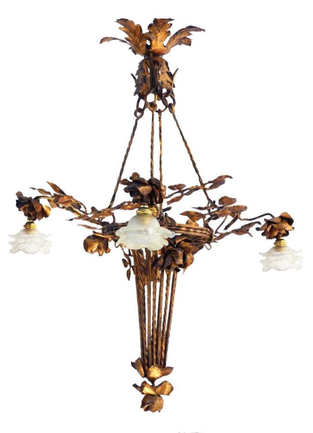 Arts and Crafts Chandelier Gilded Iron Tole Floral Bouquet Frosted Glass Shades