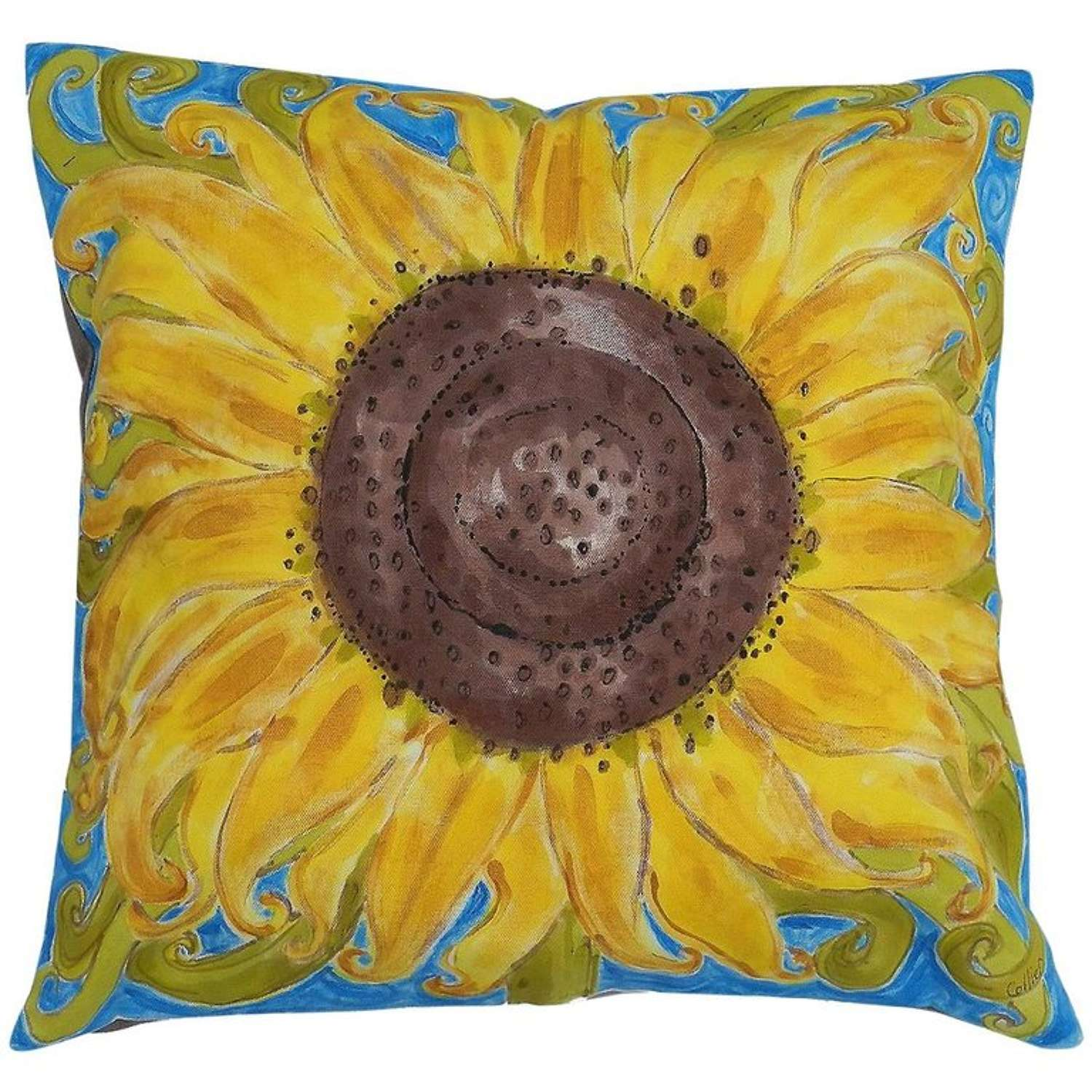 One of a Kind Pillow Hand-Painted Sunflower Unique Throw Cushion Artist Signed