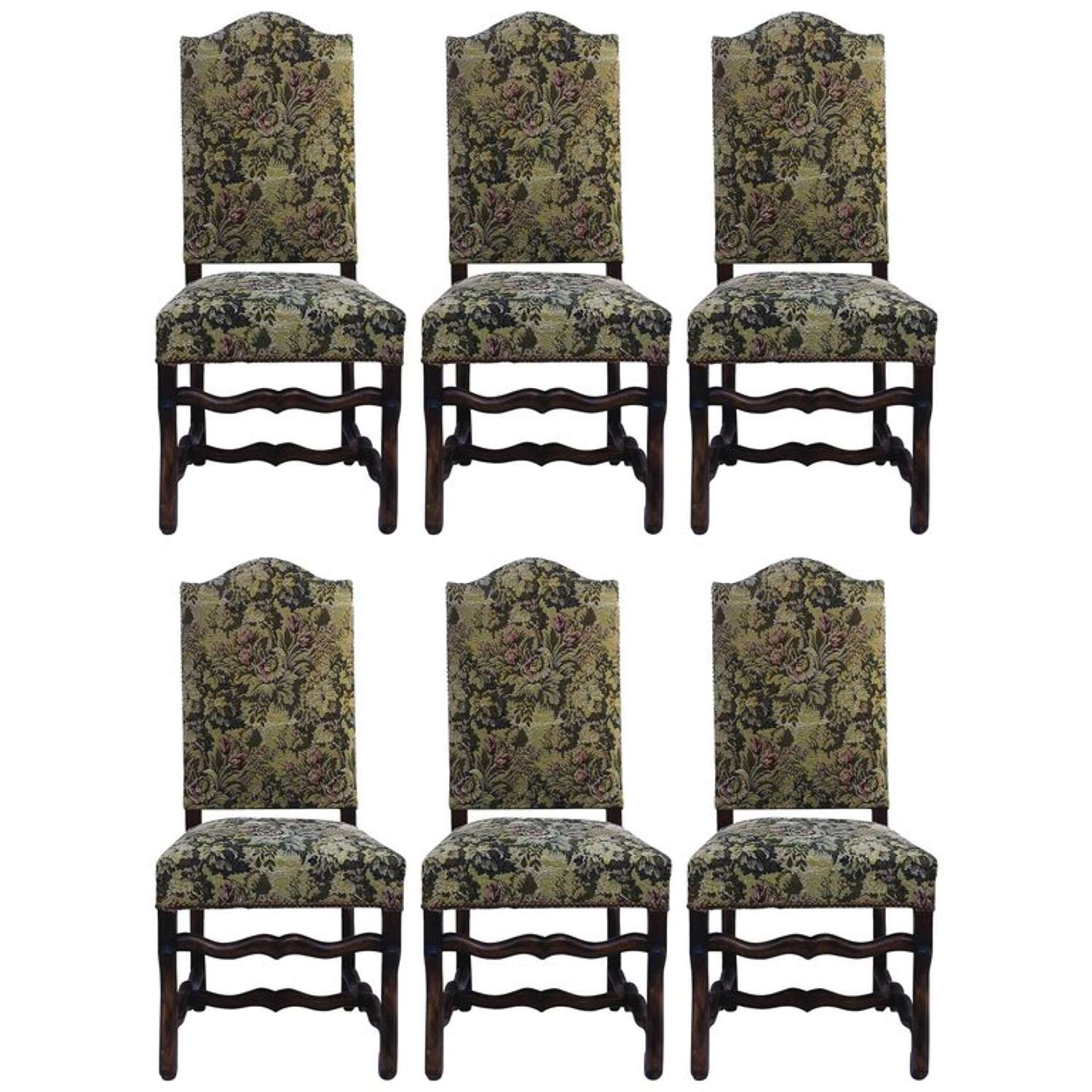 Six Dining Chairs Os de Mouton Original French Tapestry or to Recover