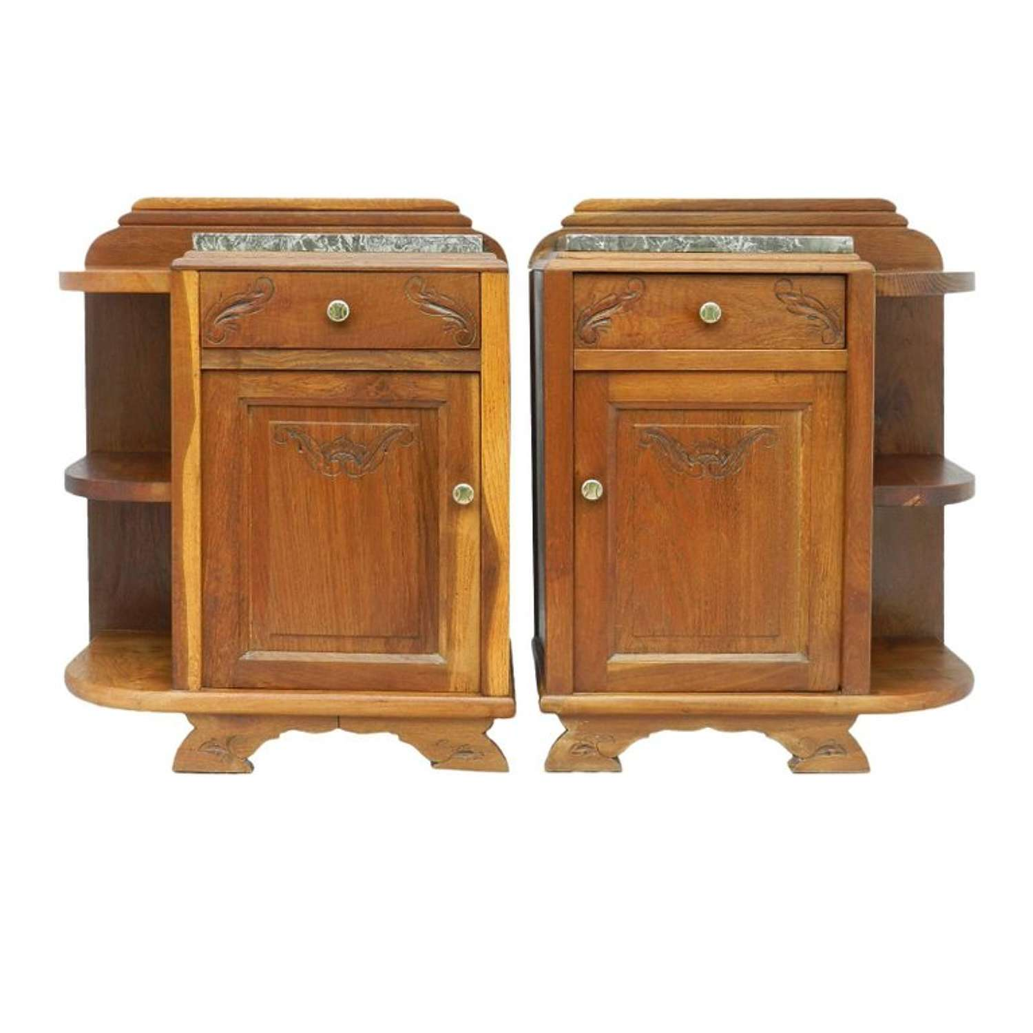 Pair of Art Deco Side Cabinets Bedside Tables Nightstand Book Shelves