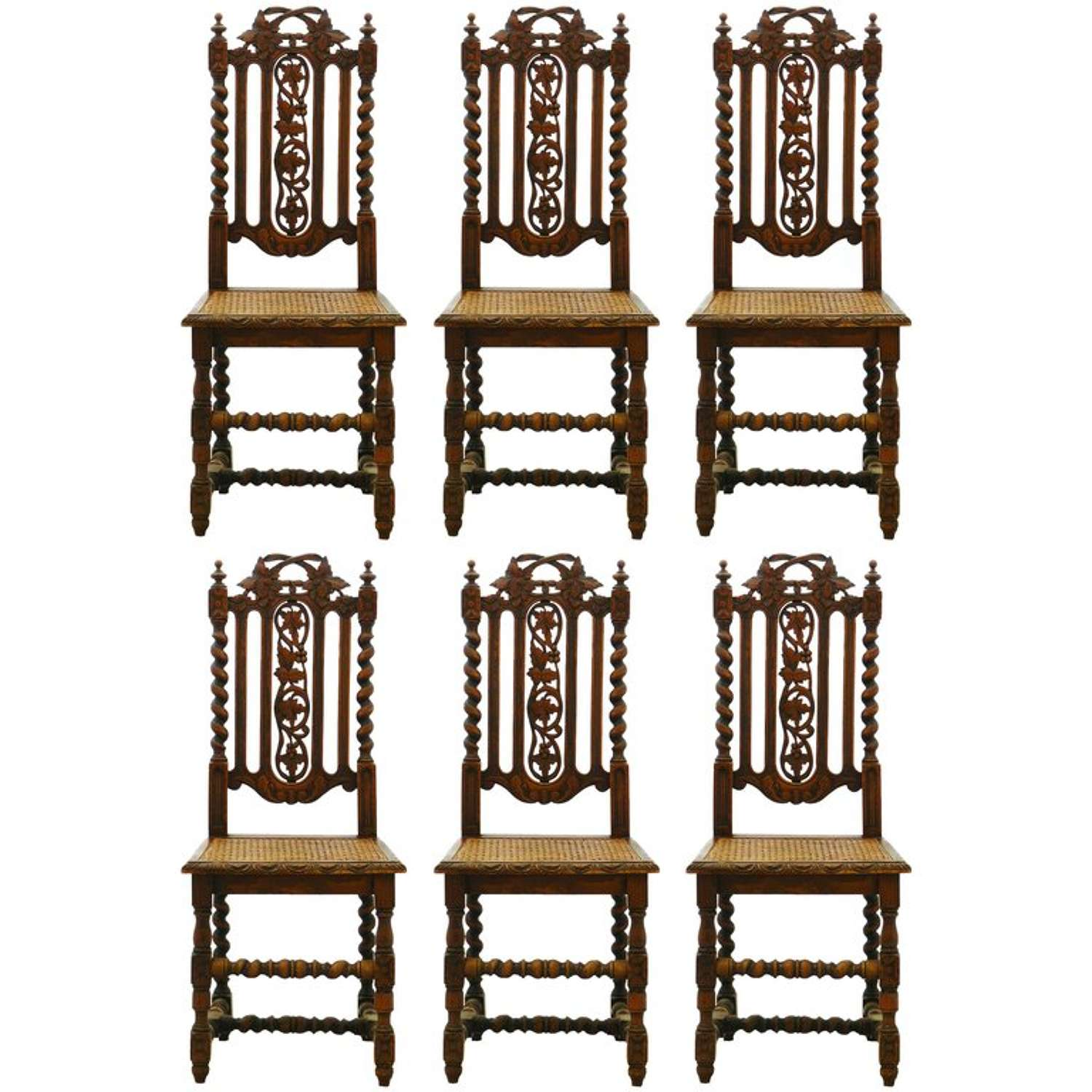 Six Dining Chairs French 19th Century Louis XIII Carved Oak Carolean Caned Seats