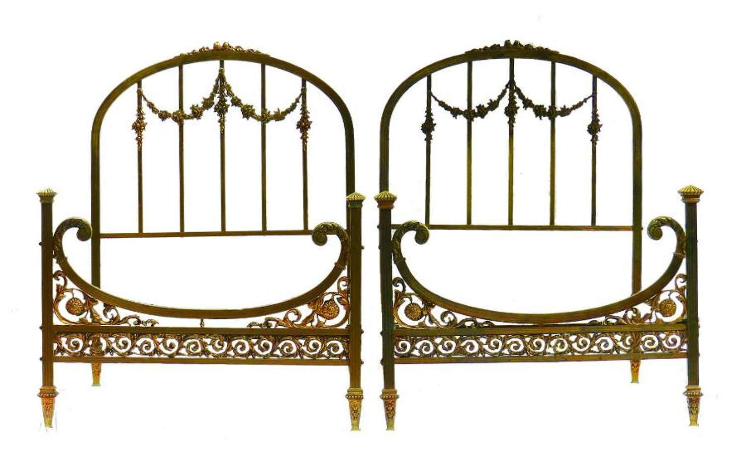Rare Pair of Twin Beds Single French Belle Epoque Bronze Iron Brass