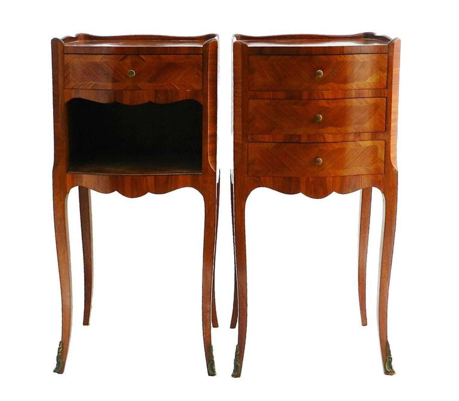 Pair Nightstands Bedside Tables Cabinets French Louis revival early 20th Century
