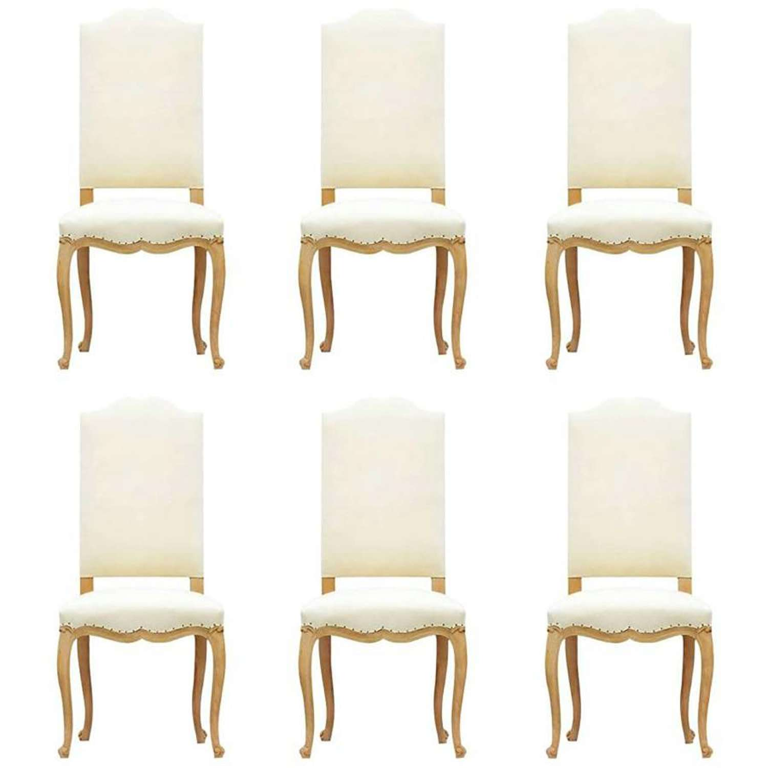 Six French Dining Chairs Louis Revival Upholstered to Metis Linen or Recover