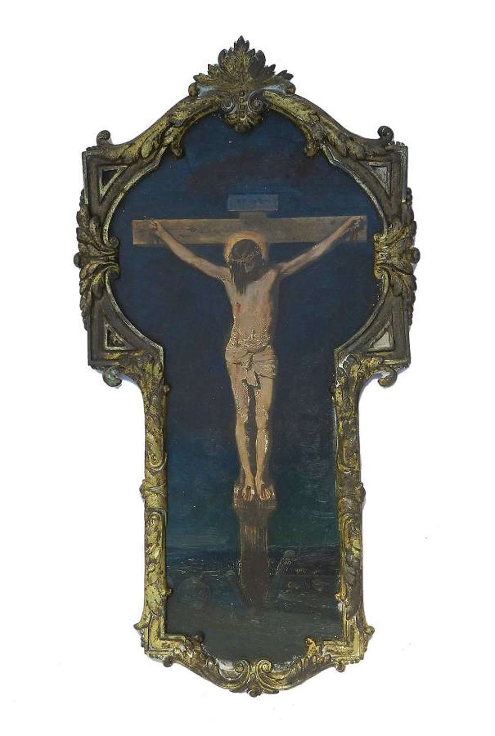 French Painting of Crucifixion Oil on Board Jesus on the Cross c1890-1910