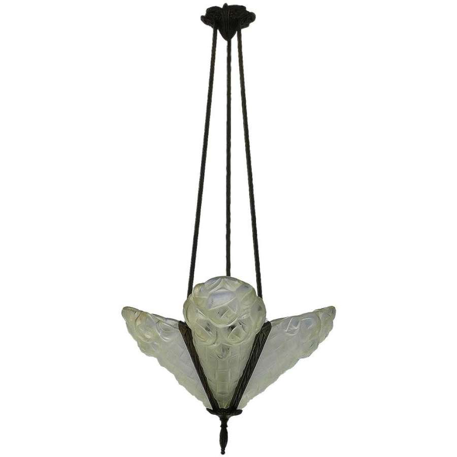 Art Deco Chandelier Signed by Degue French Glass Pendant Light, circa 1930