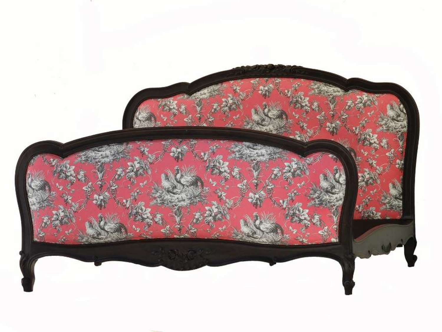 Antique French Bed Upholstered Toile de Jouy US Queen UK King-Size c1890