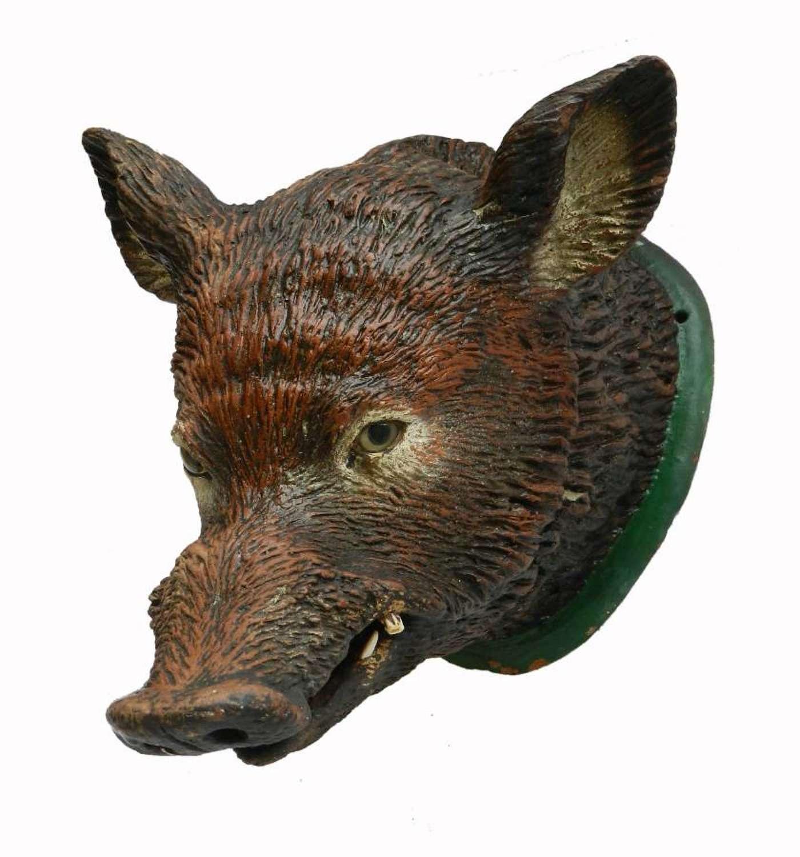 Wild Boar Head Mount Sanglier Pig Terracotta French Shop Publicity, c1920